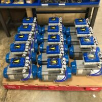 Photo by ACT: V200 positioners with gauges on an ACT actuator