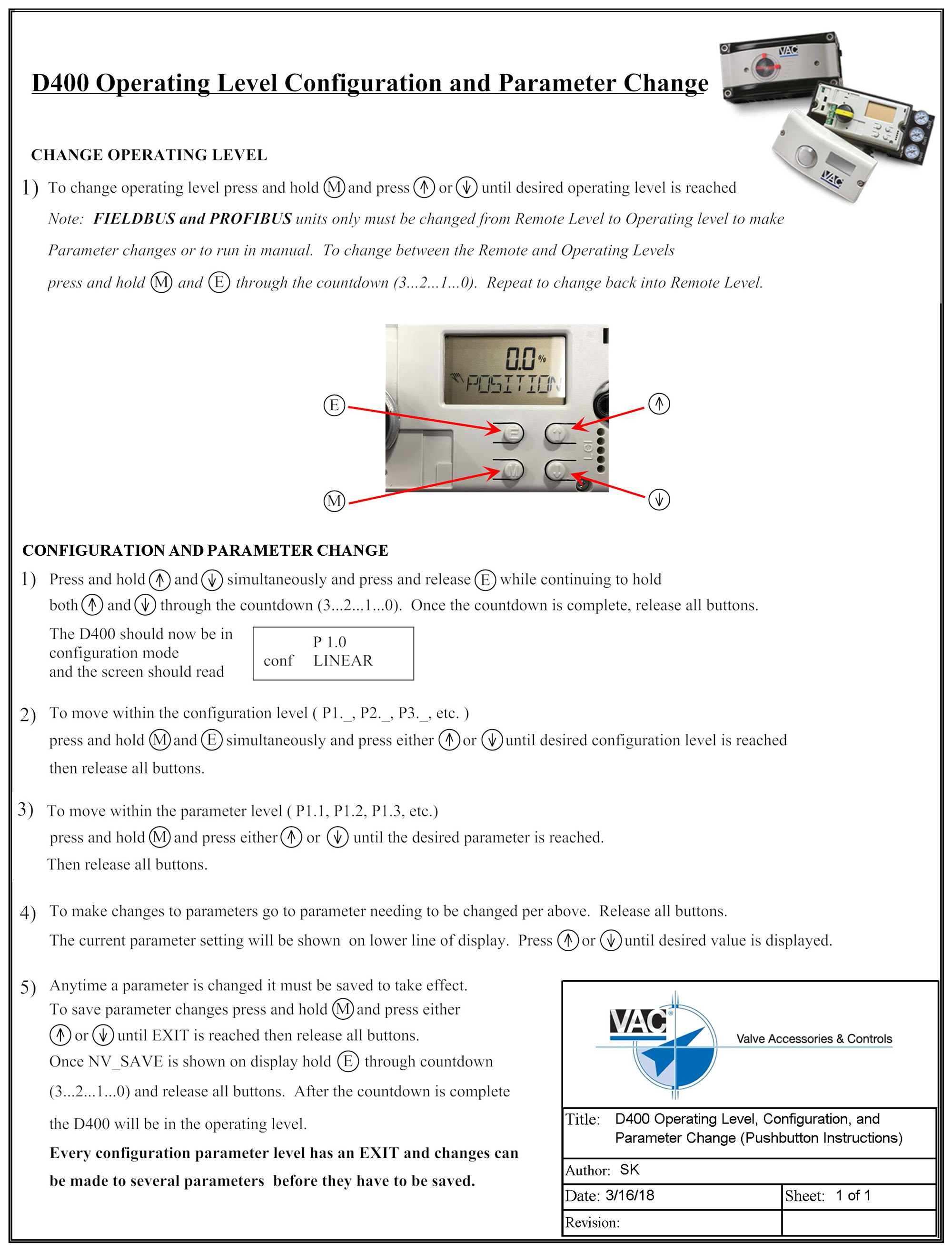 D400 Pushbutton Instructions