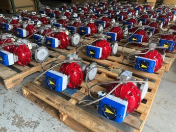 """Photo by Easytork Automation: Easytork 3"""" control valve packages with VAC V200E with a Super High Gain High Flow Spool Valve Installed"""